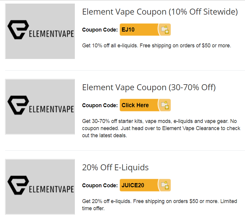 Element Vape ( code ) - Discounts and Deals - E-Liquid Recipes Forum
