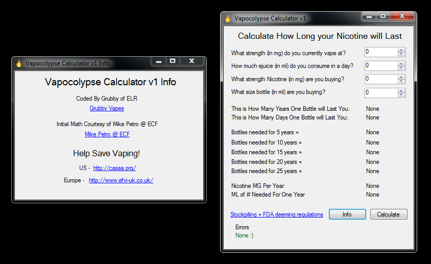 The Vapocolypse Calculator Version 1 - Firmware and Software
